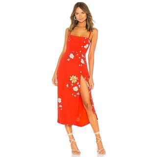 Midi Dress in Red Floral