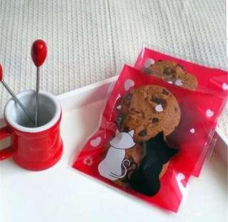 NEW 40pcs Red Cat Couple w/ Hearts Limited Design Self-Adhesive Souvenir Cookie or Candy Plastic Pouch 10cm