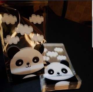 NEW Limited 9cm x 15cm Panda Design Cookie or Candy Plastic Pouch 20 pcs