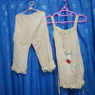Baju Tidur Anak Perempuan Putih Cokelat Tanpa Lengan Adem Piyama Bekas Second Preloved Murah