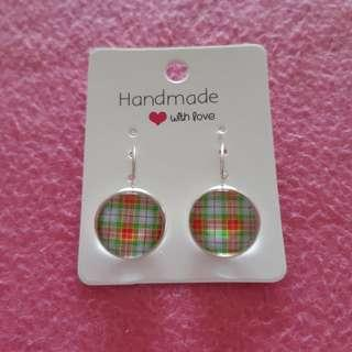 Colourful Cabochon Drop Earrings [Silver]