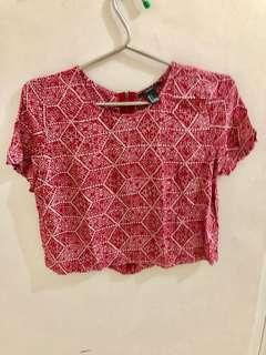 Forever21 Red Cropped Short Sleeve Blouse