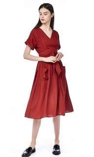 🚚 TEM Shelaine Cross-front Midi Dress in Red/ Maroon