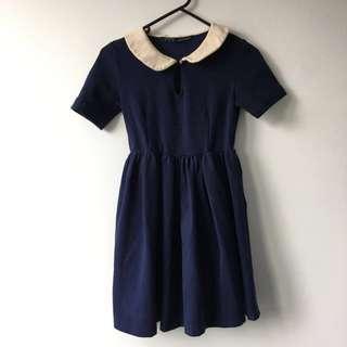 Zara Blue Peter Pan Collar Dress