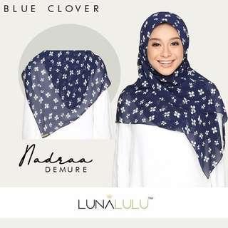 🚚 Nadraa Demure Instant Bawal Chiffon by Lunalulu (Blue Clover)
