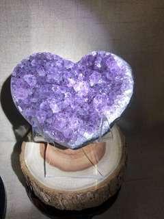 天然水晶 紫水晶帶鈦愛心