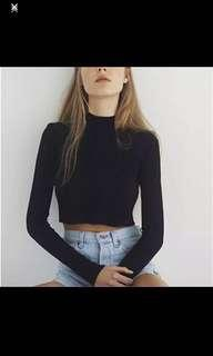 Long Sleeve Black Semi Turtleneck Crop Top #MakeSpaceForLove #MMAR18
