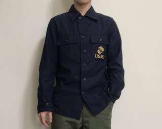 🚚 Houston 藍色棉質軍事襯衫外套