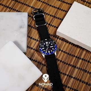 2pc Heavy Duty Zulu Strap in Black w/ Silver Buckle (Available in 20, 22 and 24mm)