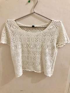 H&M white knit top