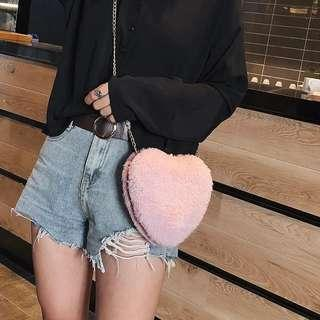 Heart Furry Bag