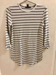 Forever21 white and grey stripes shirt dress