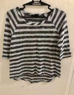 Forever21 Grey Stripes 3/4 Top