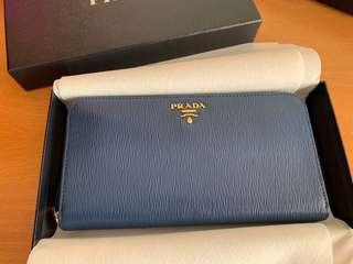 Authentic Prada Leather Wallet (Bluette) - Brand New