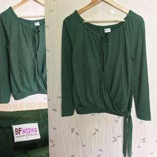 Green Overlap Longsleeves Top ❤️❤️