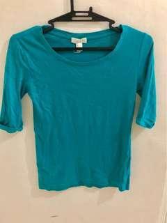 Forever21 Bluegreen 3/4 sleeve Top
