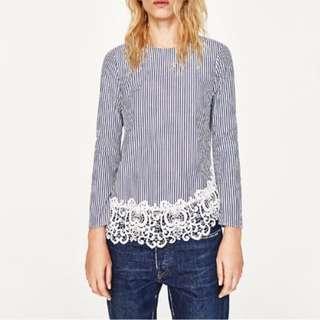 🚚 Zara 蕾絲不對稱下擺條紋上衣 條紋襯衫(S)~原價1490元