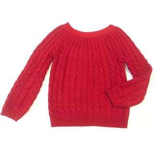 Thick Knitted Red Autumn Winter Sweater