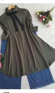 Long Tunik warna Army