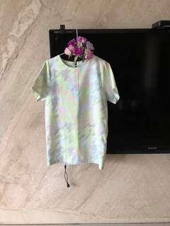 全新原價1980)正韓淺螢光綠混色長版洋裝