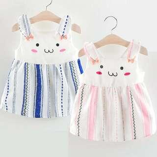 🚚 Cute Rabbit Stripes Dress in Pink or Blue