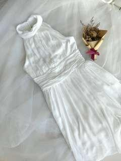 Luxe pretty Off White Mesh Knee length Dress
