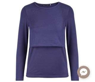 Long sleeve nursing top (navy blue)