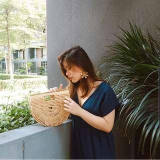 Rattan bamboo basket bag clutch