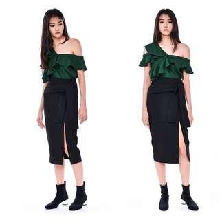 🚚 TEM Vonesha Knotted Pencil Skirt - Black (M)