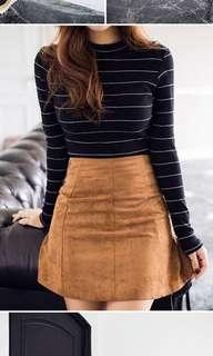🚚 Brown Suede A-line skirt