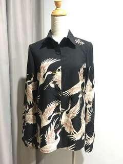 Crane print blouse top