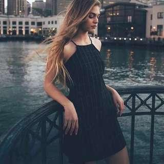 🚚 (preorder) brandy grid checkered halter a line vintage sleeveless dress
