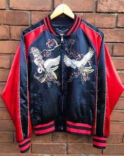 Jaket sukajan japan bird red navy blue bomber jacket