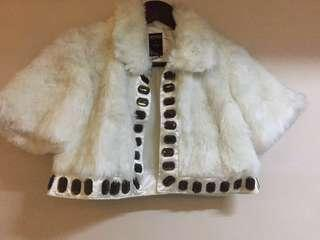 Bershka glamour and bubbles petticoat white faux fur w brownish crystals