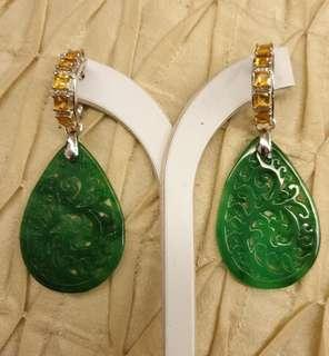 Burmese carved Jade with citrine hoop earrings - DETACHABLE