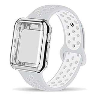 A216 - Soft Silicone Sport Wristband Compatible for Apple Watch Band 38mm (White & Grey)