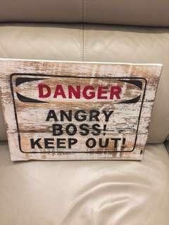 Vintage Angry Boss signage
