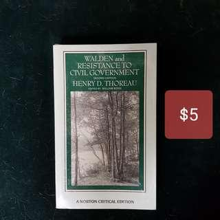 For sale: Walden & Resistance to Civil Government by Henry Thoreau