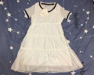 🚚 🤟Amber-全新-韓版寬鬆V領雪紡洋裝