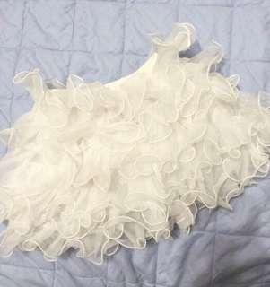 🚚 女童白色波浪蛋糕短裙約100~120cm