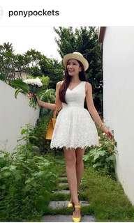 BNWT Jamie Chua White Flounced Lace Dress