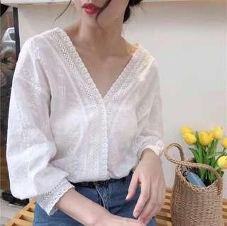 White Korean Lace Top