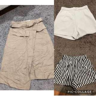 All for 90k ! 3mongkis skirt , h&m short , hw pants