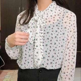 🕊韓版米白小碎花雪紡衫