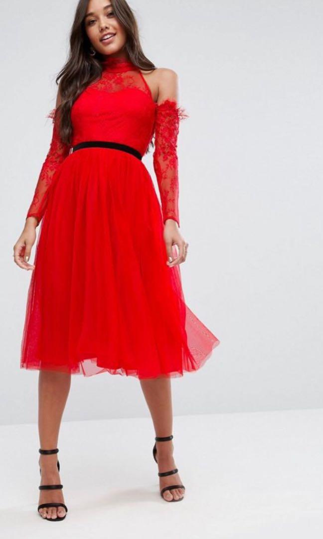 ASOS Premium Tulle Cold Shoulder Midi Prom Dress - Size 4