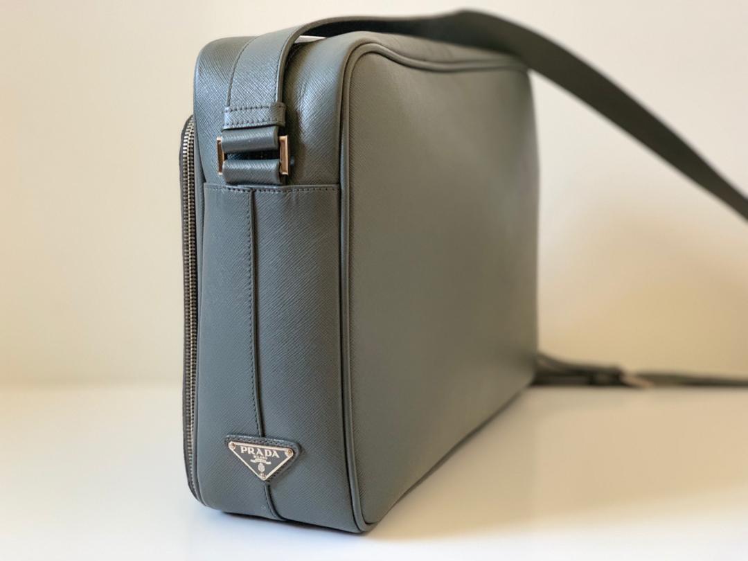 8ef48e11 Authentic Prada Grey Saffiano Leather, Work Bag