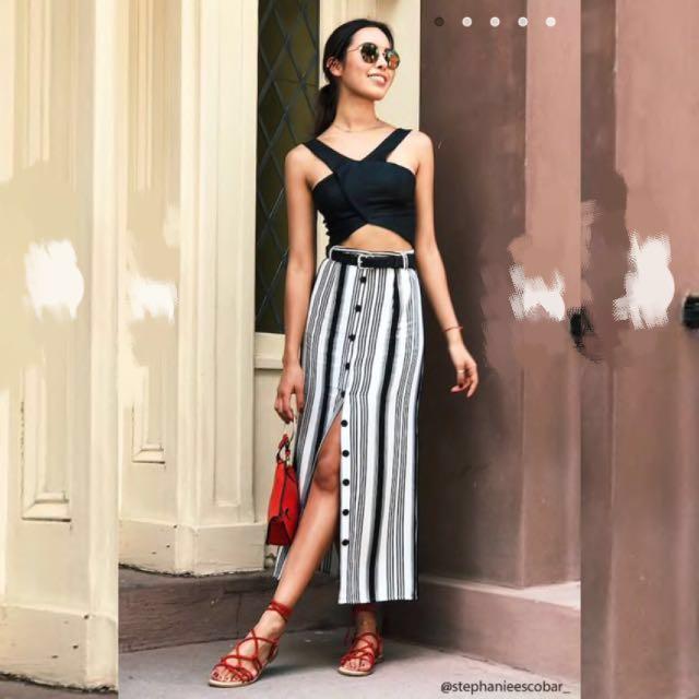 bf75792e BN] Forever 21 Striped Button Down Maxi Skirt, Women's Fashion ...