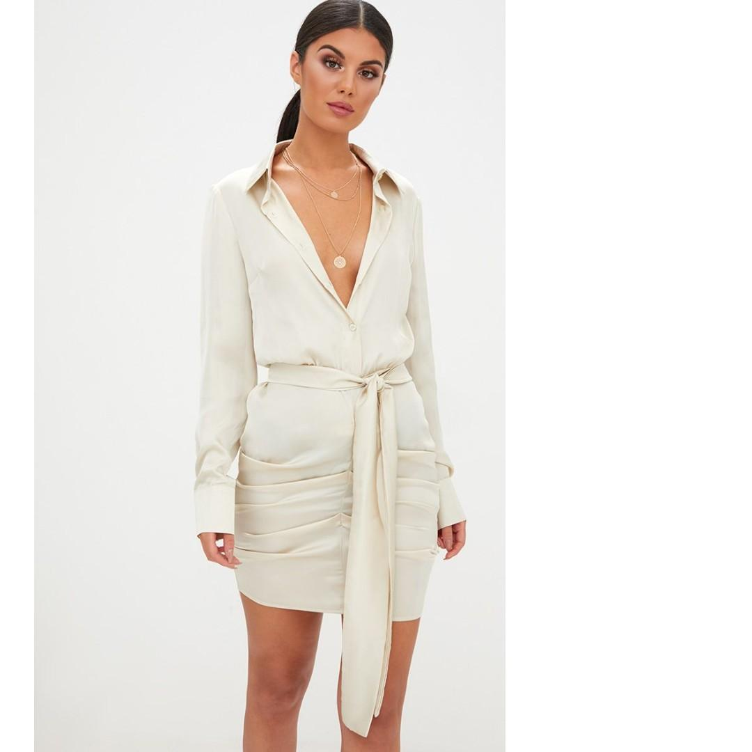 Champagne Satin Ruched Shirt Dress pretty little thing