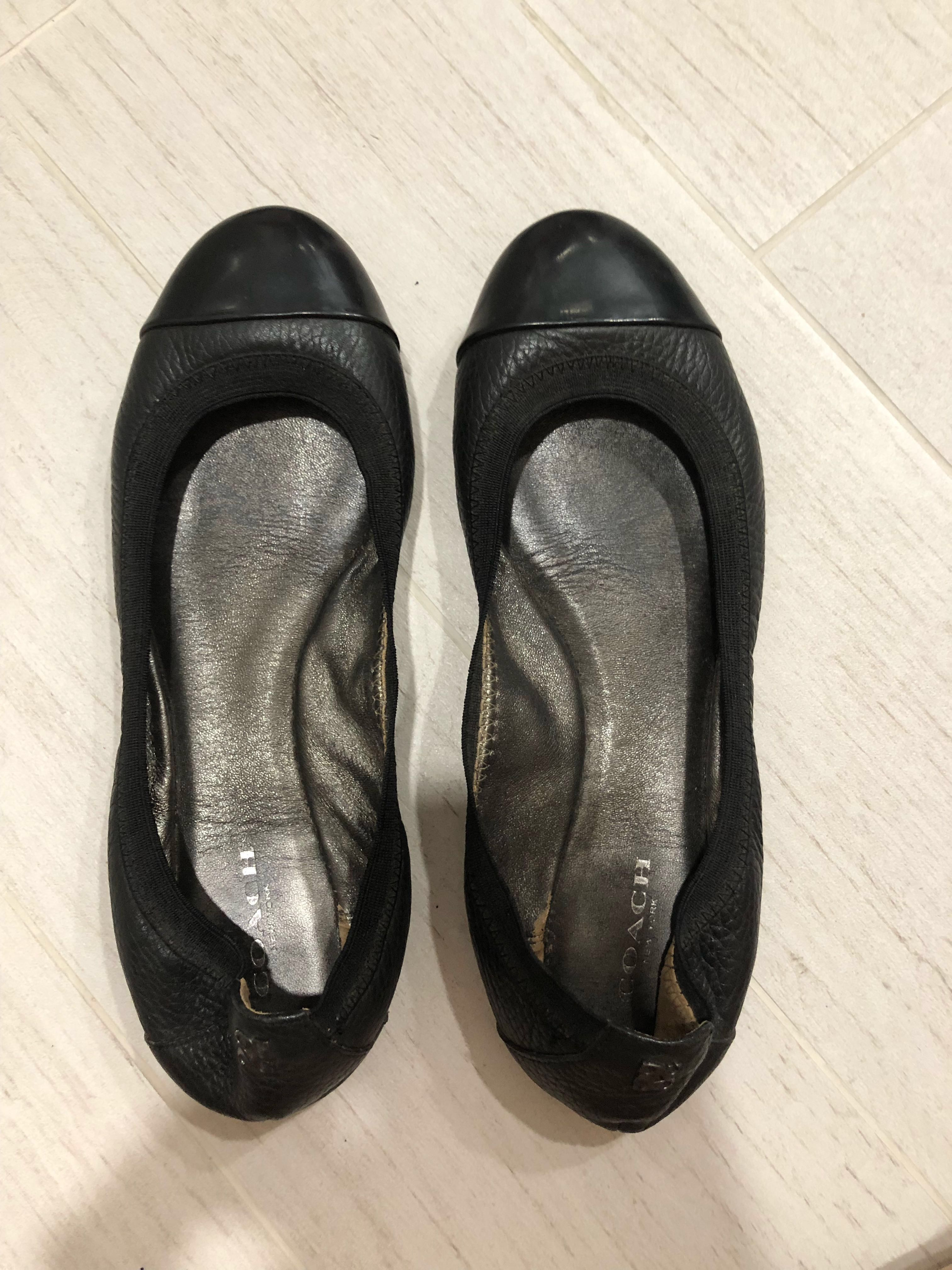 e632dc2ae Coach black leather shoes flats US 7.5, Women's Fashion, Shoes, Flats &  Sandals on Carousell