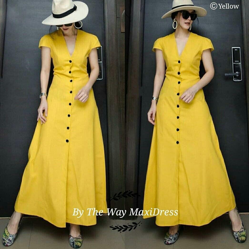 D6324 Long dress polos maxi dress panjang polos dress kancing depan dress kekinian